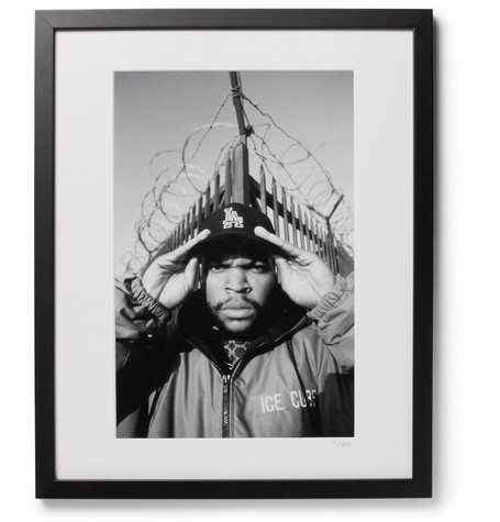 "SONIC EDITIONS Framed 1992 Ice Cube Print, 16"" X 20"" in Black"