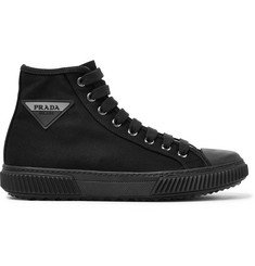Prada Stratus Logo-Appliquéd Canvas High-Top Sneakers