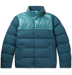 Bottega Veneta Panelled Intrecciato Leather and Shell Quilted Down Jacket