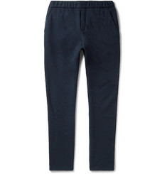 Bottega Veneta Tapered Intrecciato Leather-Trimmed Fleece-Back Cotton and Wool-Blend Sweatpants