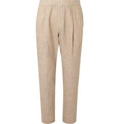 Caruso - Stone Pleated Washed-Linen Suit Trousers
