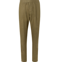 Caruso Army-Green Pleated Washed-Linen Suit Trousers