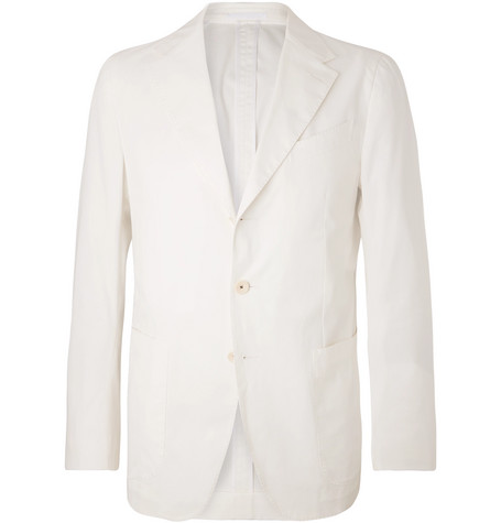 Caruso White Butterfly Unstructured Stretch-Cotton Suit Jacket