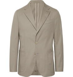Caruso - Stone Butterfly Slim-Fit Unstructured Cotton-Blend Suit Jacket