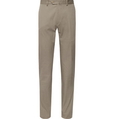Caruso - Stone Slim-Fit Cotton-Blend Suit Trousers