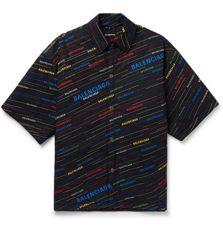 96f23e524f56 Balenciaga - Oversized Padded Logo-Print Cotton-Poplin Shirt