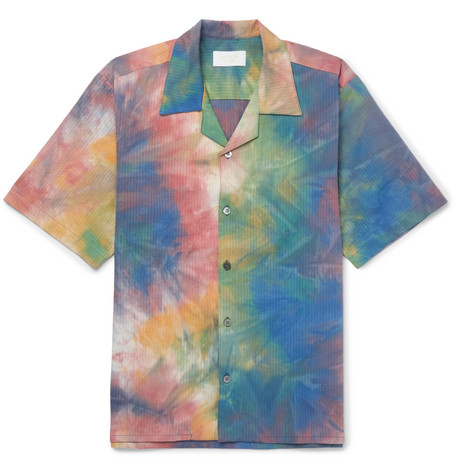 Leisure Camp Collar Tie Dyed Stretch Cotton Shirt by Aimé Leon Dore