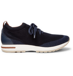 Loro Piana 360 Flexy Walk Leather-Trimmed Knitted Wool Sneakers