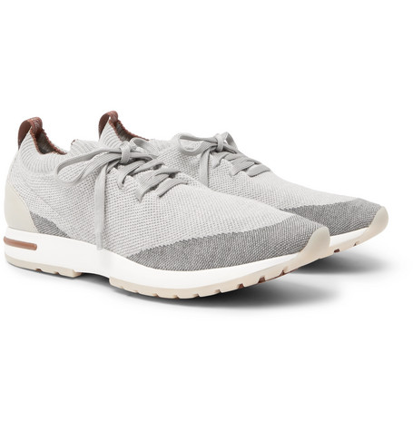 360 Flexy Walk Leather-trimmed Knitted Wool Sneakers - Light gray