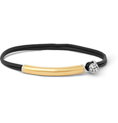 Bottega Veneta Intrecciato Leather, 24-Karat Gold and Silver Bracelet
