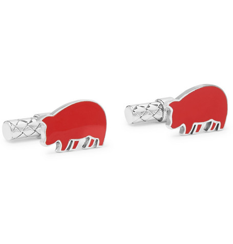 BOTTEGA VENETA | Bottega Veneta - Year Of The Pig Enamelled Intrecciato Sterling Silver Cufflinks - Red | Goxip