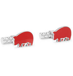 Year Of The Pig Enamelled Intrecciato Sterling Silver Cufflinks - Red