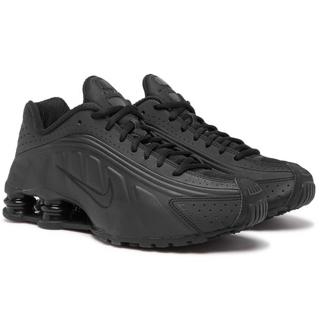 Shox R4 Mesh-trimmed Faux Leather Sneakers - Black