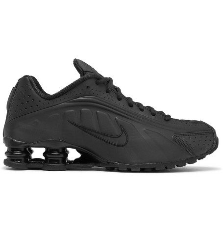 low priced 5f350 526bc Nike Shox R4 Mesh-Trimmed Faux Leather Sneakers - Black In 001 Black