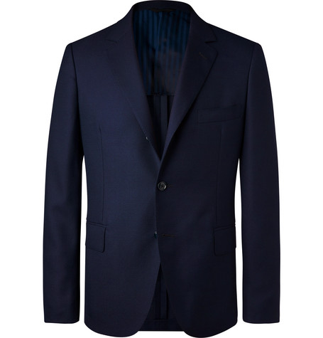 MP MASSIMO PIOMBO | MP Massimo Piombo - Navy Unstructured Virgin Wool-hopsack Blazer - Navy | Goxip