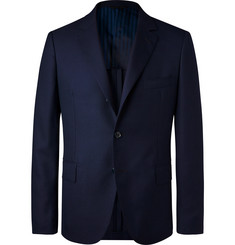 MP Massimo Piombo Navy Unstructured Virgin Wool-Hopsack Blazer