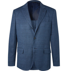 MP Massimo Piombo Blue Slim-Fit Unstructured Checked Linen-Blend Blazer