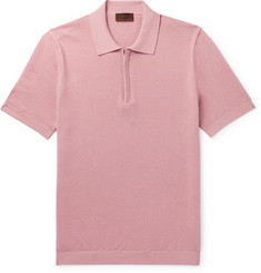 Altea Textured Cotton Half-Zip Polo Shirt