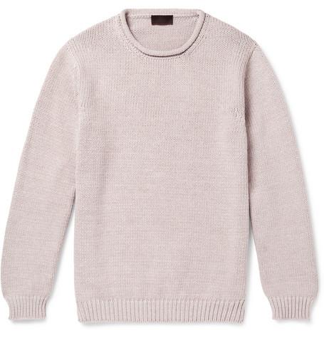 ALTEA | Altea - Cotton-blend Sweater - Beige | Goxip