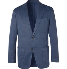 Altea - Blue Unstructured Garment-Dyed Stretch Linen and Cotton-Blend Drill Blazer
