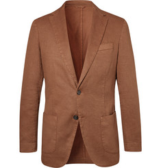 Altea - Tobacco Unstructured Garment-Dyed Stretch Linen and Cotton-Blend Drill Blazer