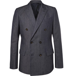 Connolly Blue Slim-Fit Double-Breasted Stretch-Denim Blazer