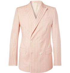 Connolly Pink Slim-Fit Double-Breasted Striped Cotton Blazer