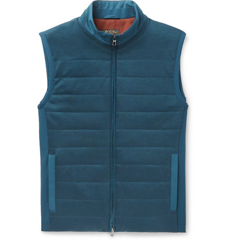 Loro Piana Storm System Quilted Shell And Virgin Wool Gilet In Blue