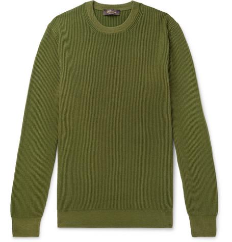 LORO PIANA | Loro Piana - Garment-dyed Ribbed Cashmere Sweater - Green | Goxip