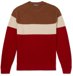 Loro Piana Striped Honeycomb-Knit Baby Cashmere Sweater