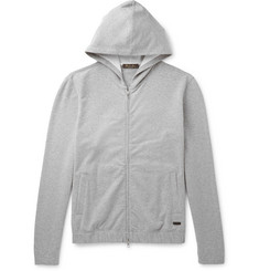 Loro Piana Loopback Stretch-Cotton Jersey Zip-Up Hoodie