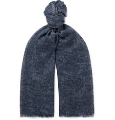 Loro Piana - Fringed Mélange Cashmere and Silk-Blend Scarf
