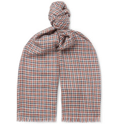 Loro Piana Fringed Checked Cashmere and Silk-Blend Scarf