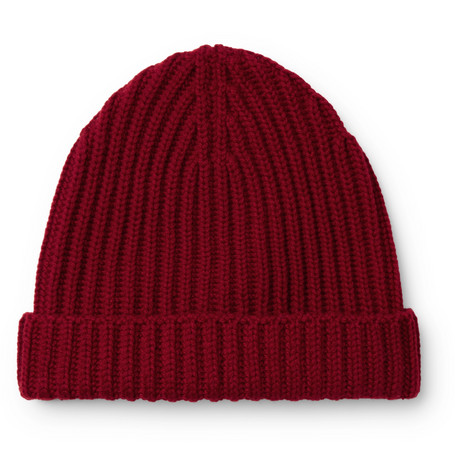 08e2f3e6b8c Loro Piana Ribbed Cashmere Beanie In Red