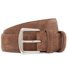 Loro Piana 3.5cm Brown Suede Belt