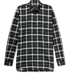 Balenciaga Button-Down Collar Checked Woven Shirt