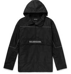 Balenciaga - Oversized Logo-Embroidered Ripstop Half-Zip Hooded Jacket