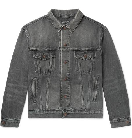 Balenciaga – Logo-print Denim Jacket – Gray