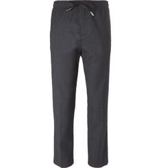 Mr P. - Slim-Fit Stretch Wool and Cotton-Blend Drawstring Trousers