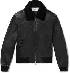 Mr P. Shearling-Trimmed Leather Aviator Jacket
