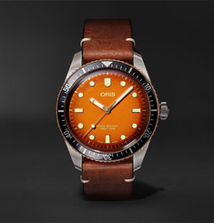Oris - + Revolution Divers Sixty-Five Honey Automatic 40mm Stainless Steel and Leather Watch