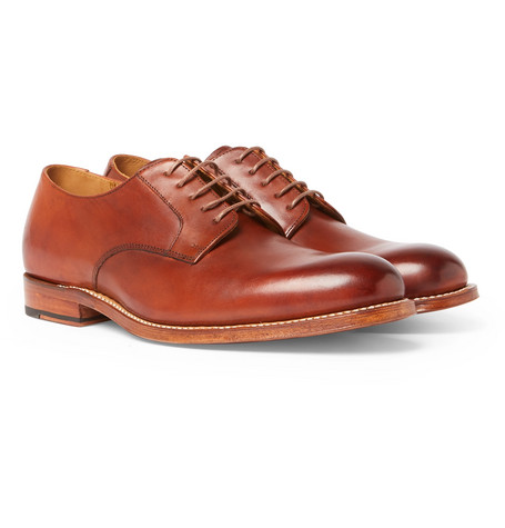 Liam Burnished-leather Derby Shoes - Tan
