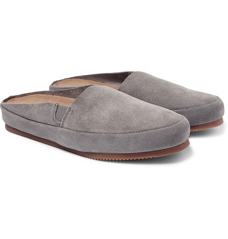 Suede Backless Loafers - Light gray