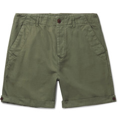 Mr P. - Garment-Dyed Peached Cotton and Linen-Blend Twill Shorts