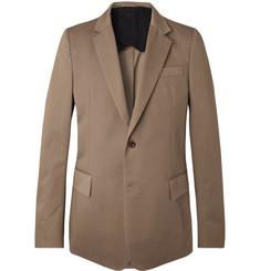 Brown Slim-fit Cotton-twill Blazer - Brown
