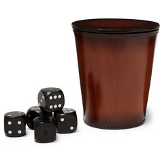 Berluti Ebony Dice and Leather Cup Set