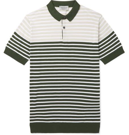 JOHN SMEDLEY Eddris Slim-Fit Striped Sea Island Cotton Polo Shirt - Green