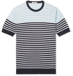 John Smedley Striped Knitted Sea Island Cotton T-shirt