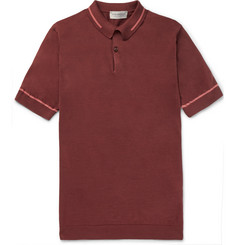 John Smedley Slim-Fit Contrast-Tipped Sea Island Cotton-Piqué Polo Shirt