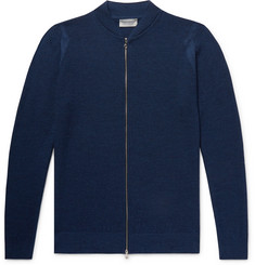 John Smedley Singular Slim-Fit Honeycomb-Knit Virgin Wool Zip-Up Cardigan